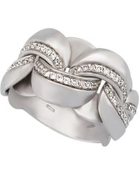 Chimento - 18k White Gold Diamond Curb-link Ring - Lyst