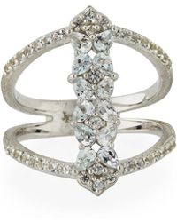 Jude Frances - Silver Open Flower Pave Ring - Lyst