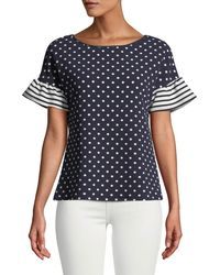 Casual Couture - Striped-flutter Sleeve Polka-dot Blouse - Lyst