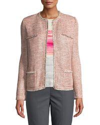 St. John - Metallic Tweed Eyelash-trim Jacket - Lyst
