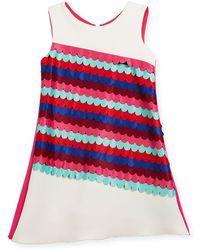 Zoe - Scallop Front Sleeveless Shift Dress - Lyst