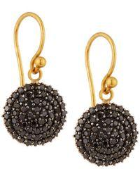 Gurhan - 24k Lentil Pavé Black Diamond Dangle Earrings - Lyst