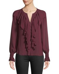Go> By Go Silk - Go Get Ruffled Up Silk Button-front Blouse - Lyst