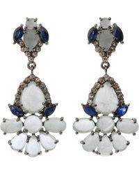 Bavna - Silver Drop Earrings With Champagne Diamonds - Lyst