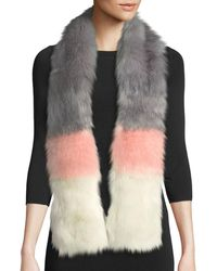 Neiman Marcus - Striped Faux-fur Stole - Lyst