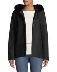 Laundry by Shelli Segal - Short Wool Boucle Top Coat W/ Faux-fur Hood - Lyst