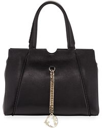 Versace - Pebbled Leather Satchel Bag With Stitching Detail - Lyst dfb65b007de74