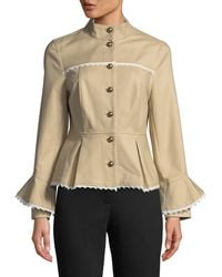 Nanette Nanette Lepore - Lace-trimmed Peplum Military Jacket - Lyst