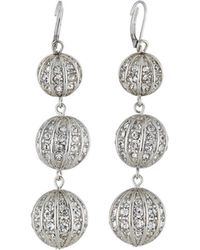 Fragments | Triple Crystal Ball Earrings | Lyst