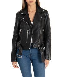 Bagatelle - Nyc Pebbled Leather Biker Jacket - Lyst