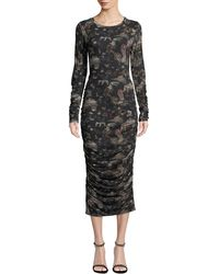 Nicole Miller - Ruched Graphic Print Bodycon Dress - Lyst