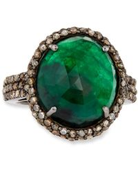 Bavna - Round Silver Cocktail Ring With Emeralds & Diamonds Size 7 - Lyst