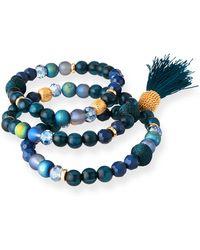Lydell NYC - Tassel & Bead Stretch Bracelets - Lyst