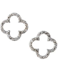 KC Designs - 14k White Gold Diamond Open Clover Earrings - Lyst