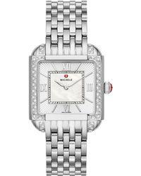 Michele - Square Watch W/ Diamonds & Bracelet Strap - Lyst