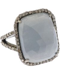 Bavna - Silver Square Ring With Multicolor Sapphire & Diamonds - Lyst