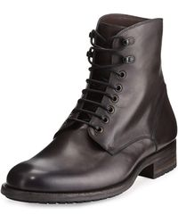 Neiman Marcus - Leather Lace-up Stacked Boot - Lyst