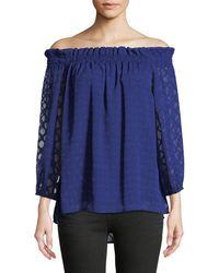 Cece by Cynthia Steffe - Off-the-shoulder Jacquard Blouse - Lyst