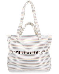 Peace Love World Love Is My Energy Canvas Shopper Tote Bag - Black