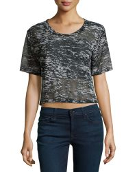 F.t.b By Fade To Blue - Short-sleeve Cropped White Noise Tee - Lyst