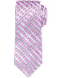 Ike Behar - Gingham Silk Tie W/ Stripes - Lyst
