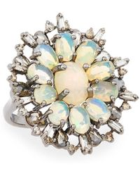 Bavna - Silver Ring With Opal & Diamonds Size 6.5 - Lyst