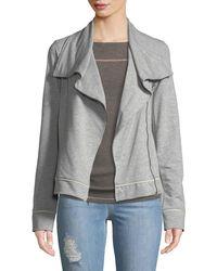 Three Dots - Stretch-knit Moto Jacket - Lyst