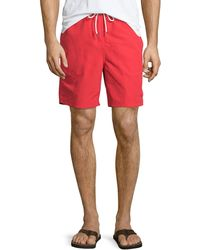 Neiman Marcus - Red Solid Swim - Lyst