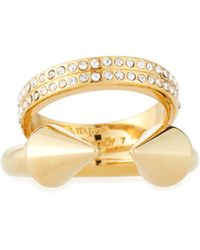 Vita Fede | Gold-dipped Plain Titan & Double Crystal Band Ring | Lyst