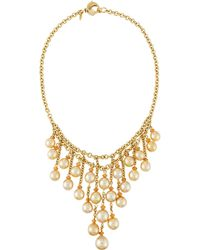 Assael   18k Golden South Sea Pearl & Mandarin Garnet Bib Necklace   Lyst