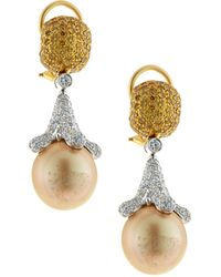 Assael - 18k Golden South Sea Pearl Drop Earrings W/ Yellow & White Diamonds - Lyst
