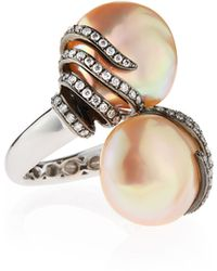 Assael - Baroque Freshwater Pearl & Diamond Bypass Cocktail Ring - Lyst