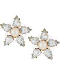 Lydell NYC - Golden Pearly & Crystal Flower Stud Earrings - Lyst