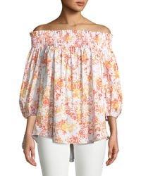 Caroline Constas - Lou Off-the-shoulder Floral-print Cotton Top - Lyst