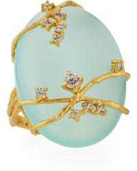 Indulgems - Golden Aqua Chalcedony & Crystal Vine Ring - Lyst