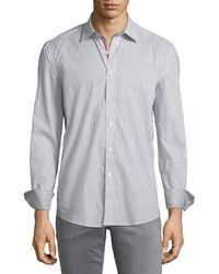 Bugatchi - Shaped-fit Ombre-dotted Sport Shirt - Lyst