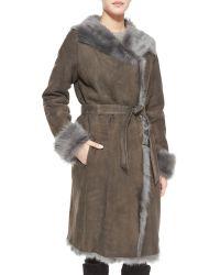 Goes - Reversible Shearling Overcoat W/ Fur Trim - Lyst