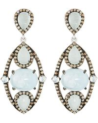 Bavna - Silver Drop Earrings With Champagne Rose-cut Diamonds & Aquamarine - Lyst