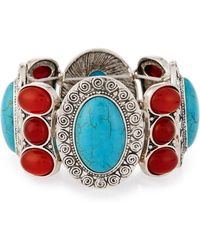 Lydell NYC - Carved Oval Cabochon Stretch Bracelet - Lyst