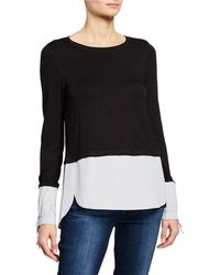 Neiman Marcus - Twofer Sweater With Shirting Trim - Lyst