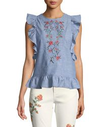 Dex - Embroidered Butterfly-sleeve Open-back Blouse - Lyst