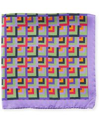 Bugatchi - Multicolor Square Silk Pocket Square - Lyst