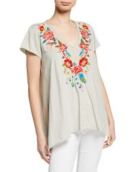 Johnny Was Samira Embroidered Draped Top