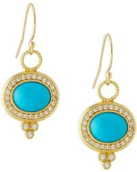 Jude Frances - 18k Provence Pave Diamond & Turquoise Oval Dangle & Drop Earrings - Lyst