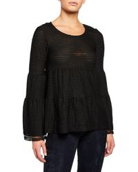 Max Studio - Tiered-ruffles Long-flared Sleeves Top - Lyst