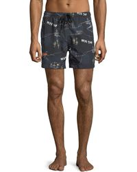 Wesc - Zack Dead End Printed Swim Shorts - Lyst