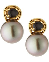 Belpearl - Agate & Tahitian Pearl Drop Earrings - Lyst