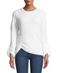 Nicole Miller - Ruched Balloon-sleeve Sweater - Lyst