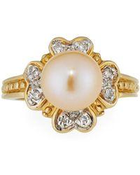 Belpearl   14k Yellow Gold Lavender Pearl & Diamond Heart Ring   Lyst