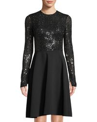 Michael Kors - Sequined Long-sleeve Fit & Flare Dress - Lyst